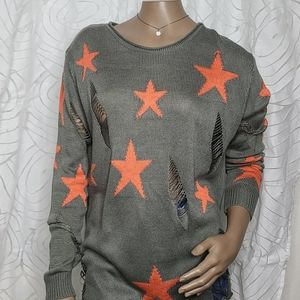 Rehab star print distressed gray tunic sweater